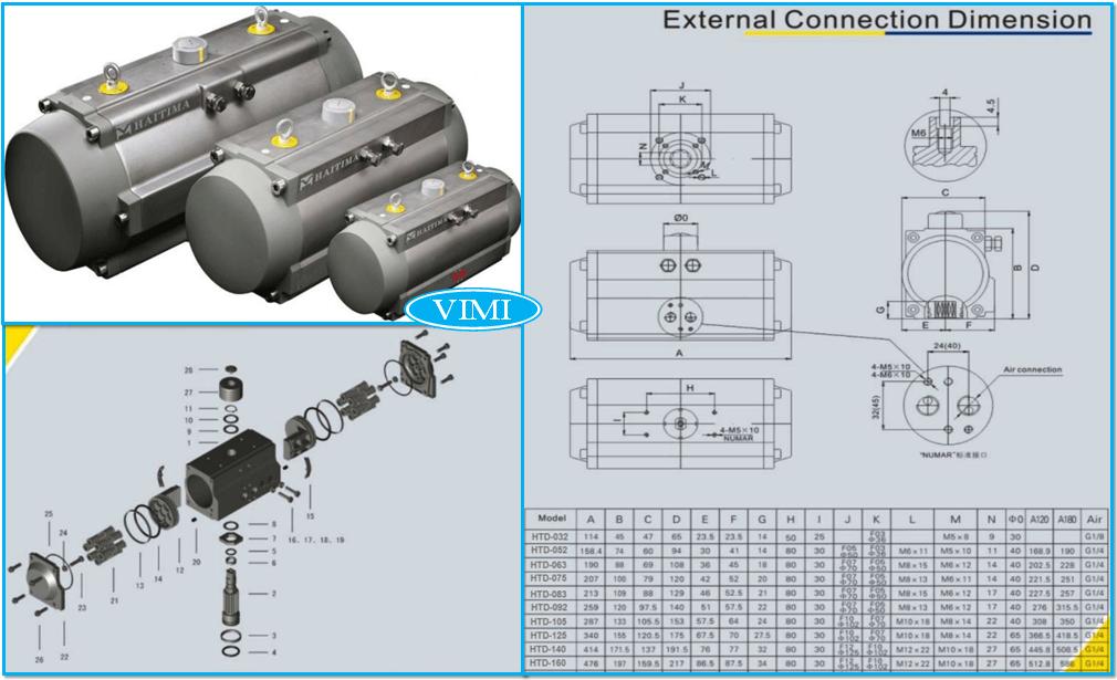 cấu tạo và kích thước bộ điều khiển khí nén Haitima Đài Loan