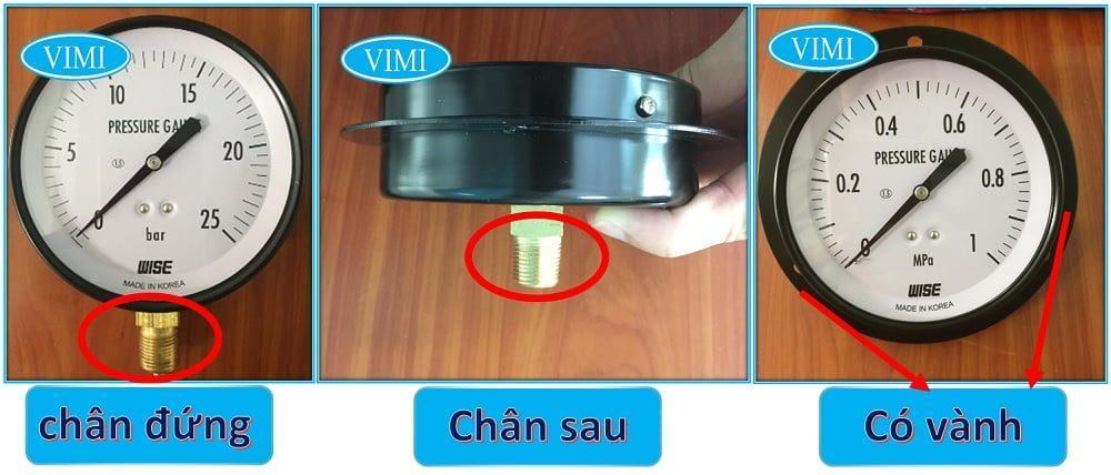 Đồng hồ đo áp suất P110 có dạng chân đứng, chân sau lưng, có vành