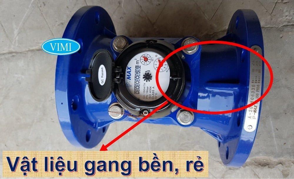 Đồng hồ đo nước thải Pmax có vật liệu chế tạo từ gang