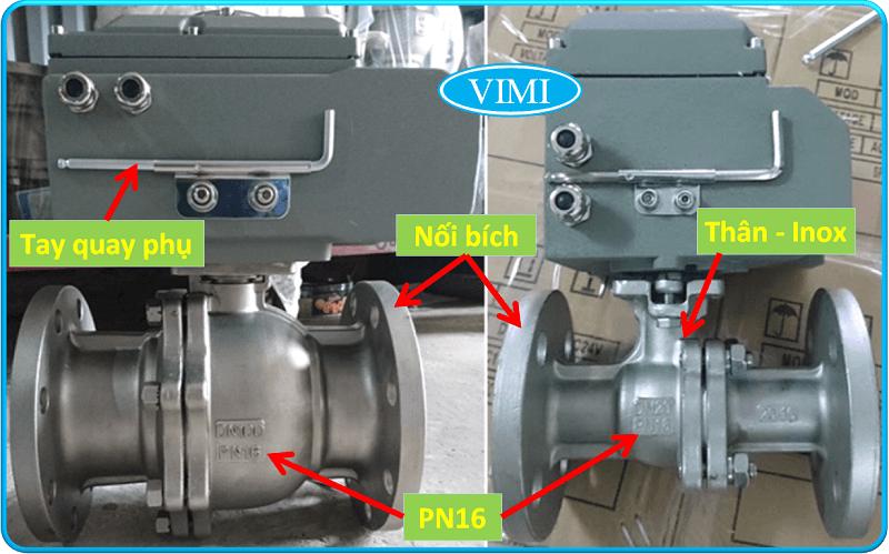 Van bi inox điều khiển điện Haitima Đài Loan nối bích 5