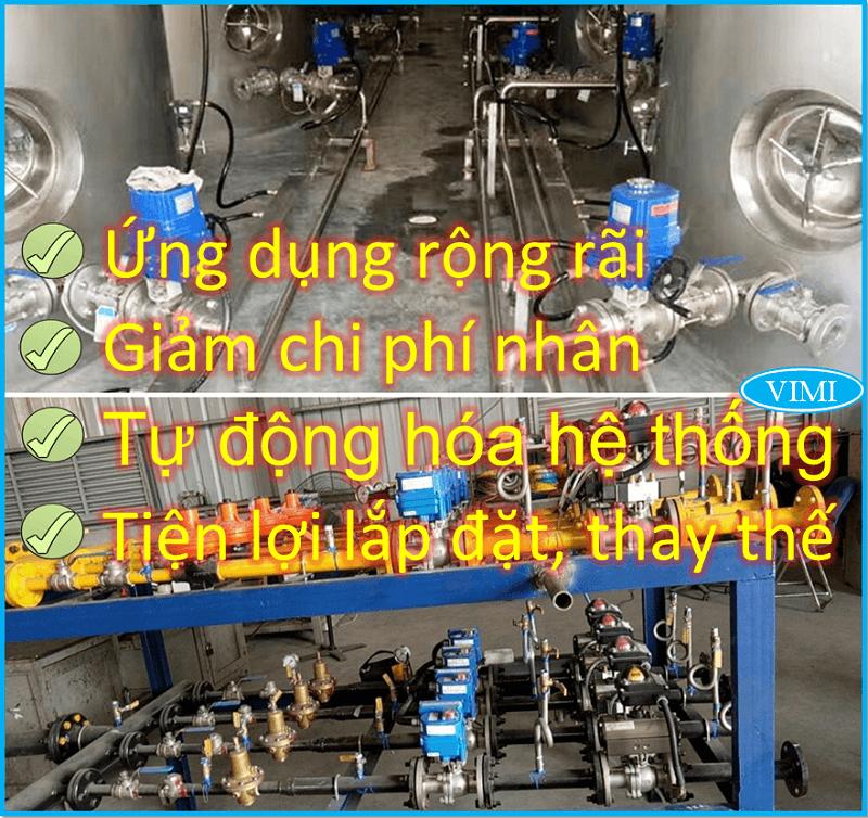 Van bi inox điều khiển điện Haitima Đài Loan nối bích 6