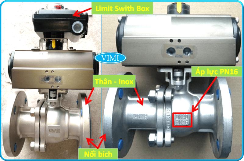 Van bi inox điều khiển bằng khí nén Kosaplus Hàn Quốc nối bích 8