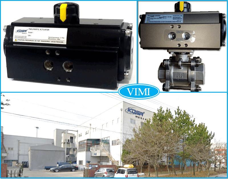 Van bi inox điều khiển bằng khí nén Kosaplus Hàn Quốc nối ren 6
