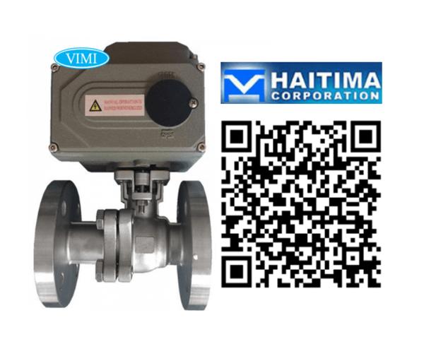 Van bi inox điều khiển điện Haitima Đài Loan nối bích 1