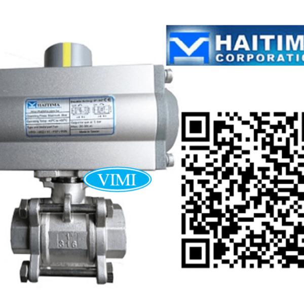 Van bi inox điều khiển bằng khí nén Haitima Đài Loan nối ren 1