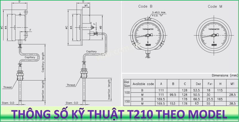 Đồng hồ đo nhiệt độ T210 7