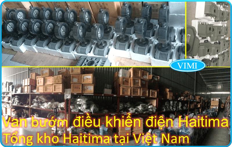 Van bướm điều khiển điện Haitima Đài Loan thân gang cánh inox 7