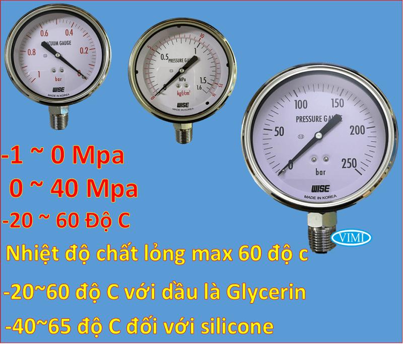 đồng hồ đo áp suất p254 wise hàn quốc