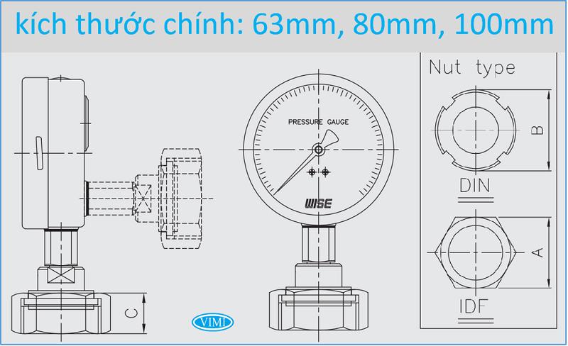 đồng hồ đo áp xuất P751 wise Hàn Quốc 1