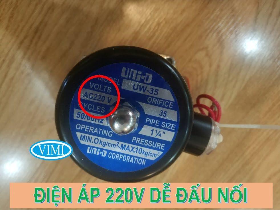 Van điện từ nước Unid thường đóng 220V điện áp dễ đấu nối
