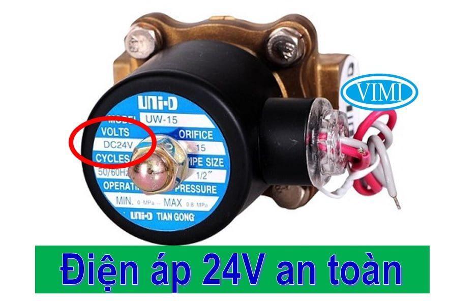 Van điện từ nước UNID thường đóng bằng đồng 24V an toan