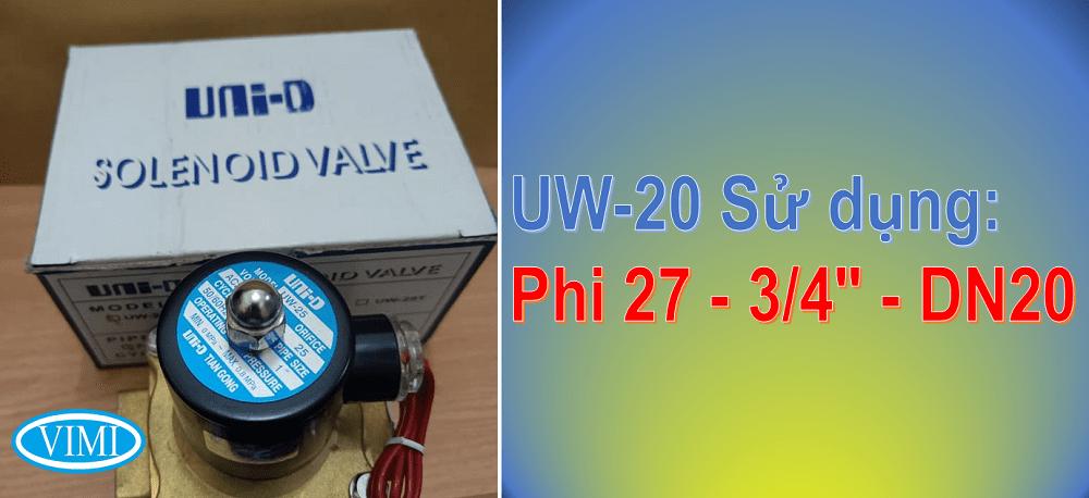 Van điện từ UW-20 sẽ lắp đặt với đường ống phi 27mm