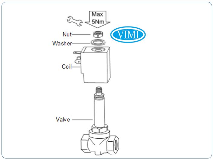 Đấu nối dây điện với van điện từ