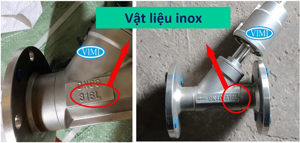 Van Y xiên điều khiển khí nén mặt bích chế tạo hoàn toàn từ inox
