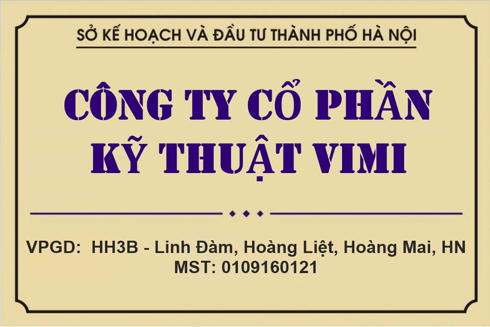 bảng hiệu công ty cổ phần kỹ thuật vimi