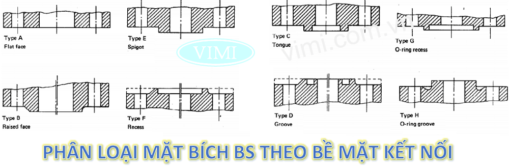 Chủng loại mặt bích BS theo bề mặt kết nối