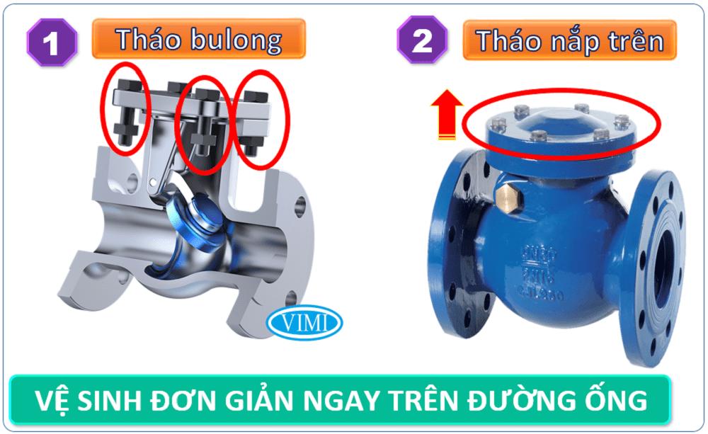 Van 1 chiều lá lật DN50 rất dễ dàng vệ sinh, bảo dưỡng