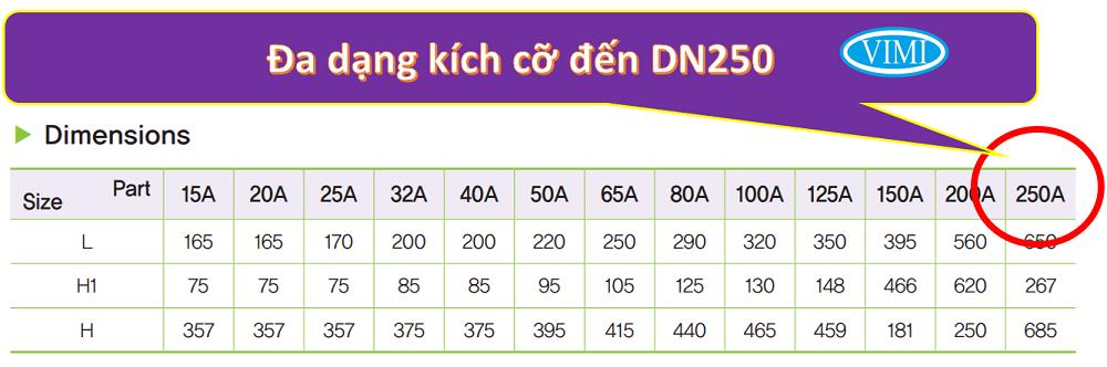 Kích cỡ đa dạng DN15 ~ DN250