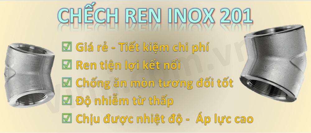 Chếch ren inox 201 -3