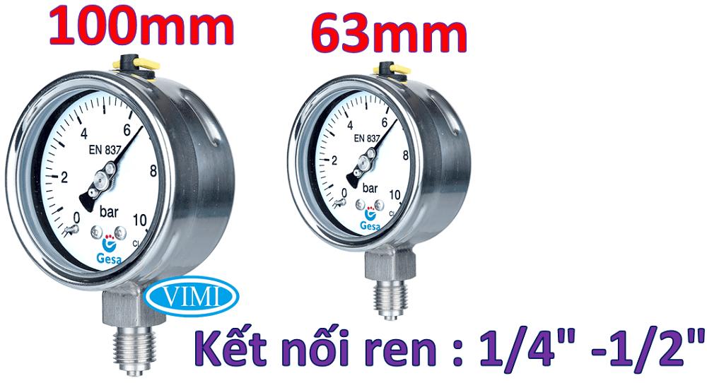 đồng hồ đo áp suất gesa m0306 2