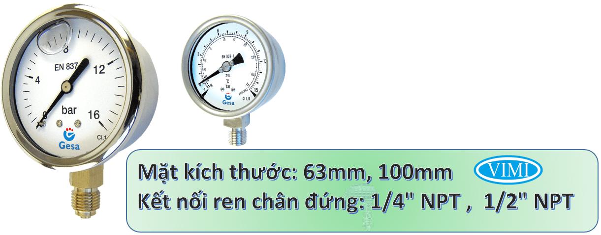 đồng hồ đo áp suất gesa m0301 3