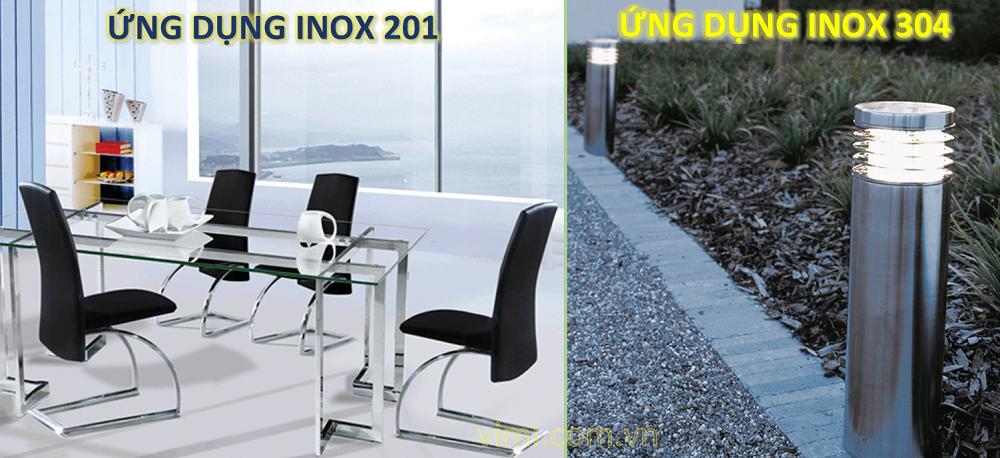 ứng dụng inox 304 - 201 là gì