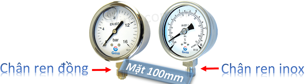 Đồng hồ đo áp suất gesa mặt 100mm 1