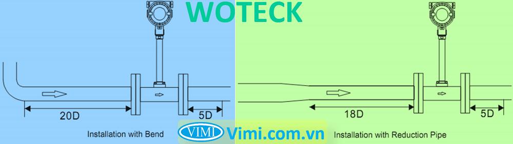 lưu ý lắp đặt Đồng hồ lưu lượng hơi Woteck 01