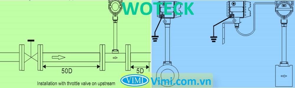 lưu ý lắp đặt Đồng hồ lưu lượng hơi Woteck 02