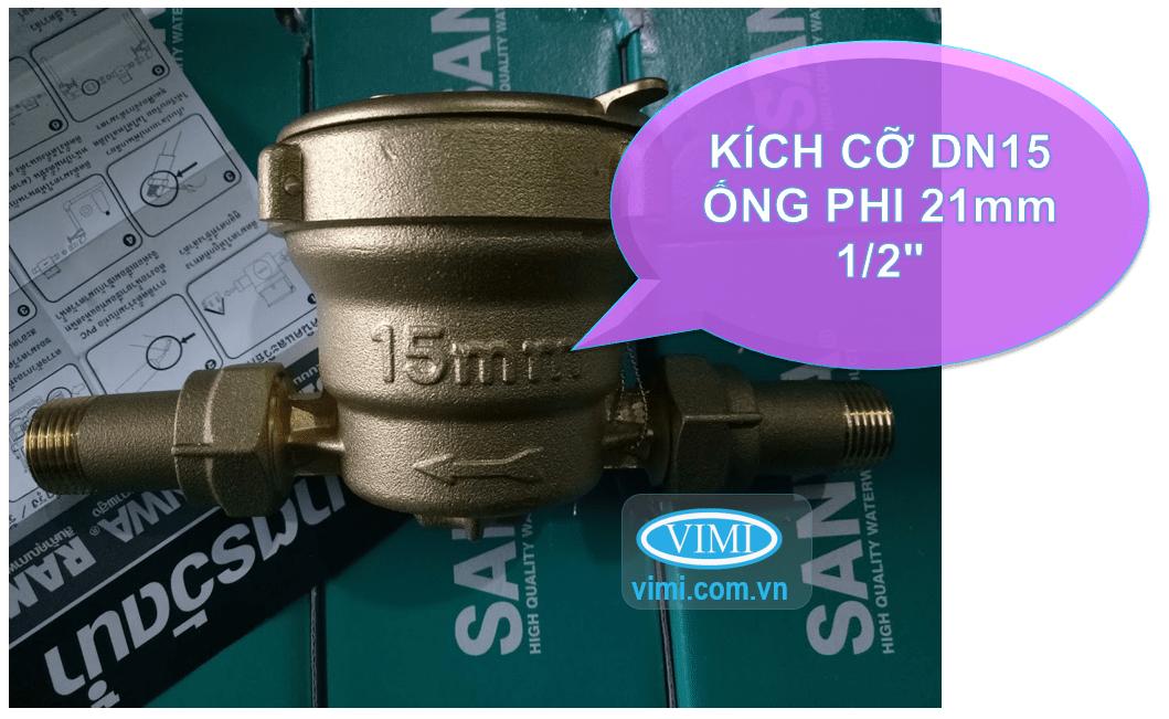 """Đồng hồ nước sanwa sv15 dùng cho đường ống DN15 - phi 21mm - 1/2"""""""