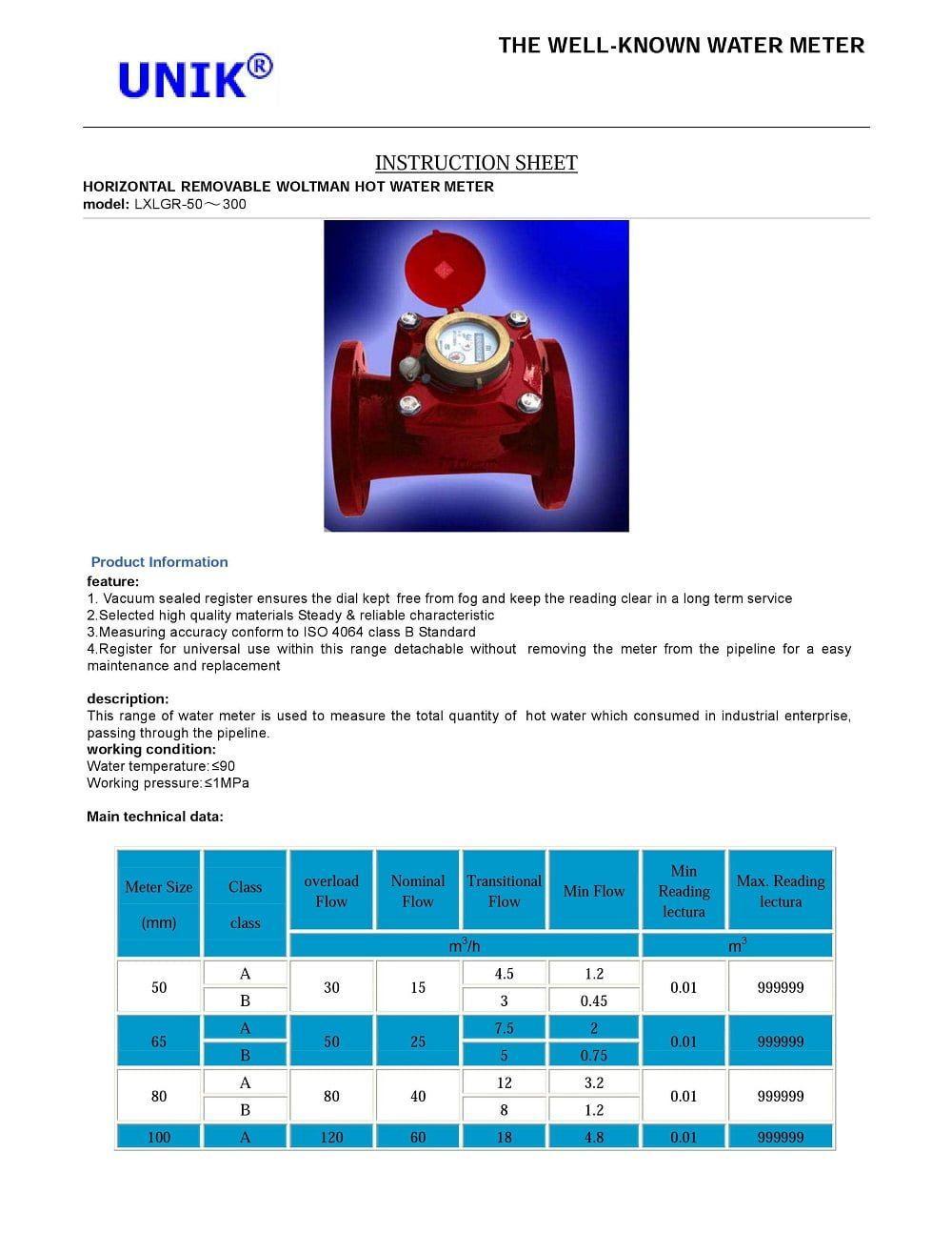 Cataloge Đồng hồ nước nóng Unik