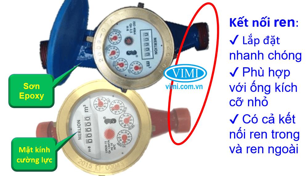 đồng hồ lưu lượng nước merlion nối ren 07