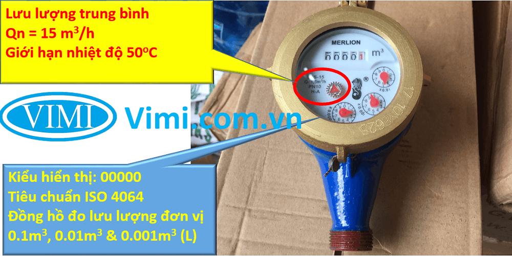 đồng hồ lưu lượng nước merlion nối ren 08