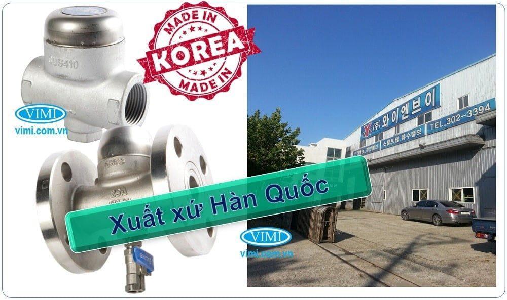 Bẫy hơi inox YNV có xuất xứ chính hãng Hàn Quốc