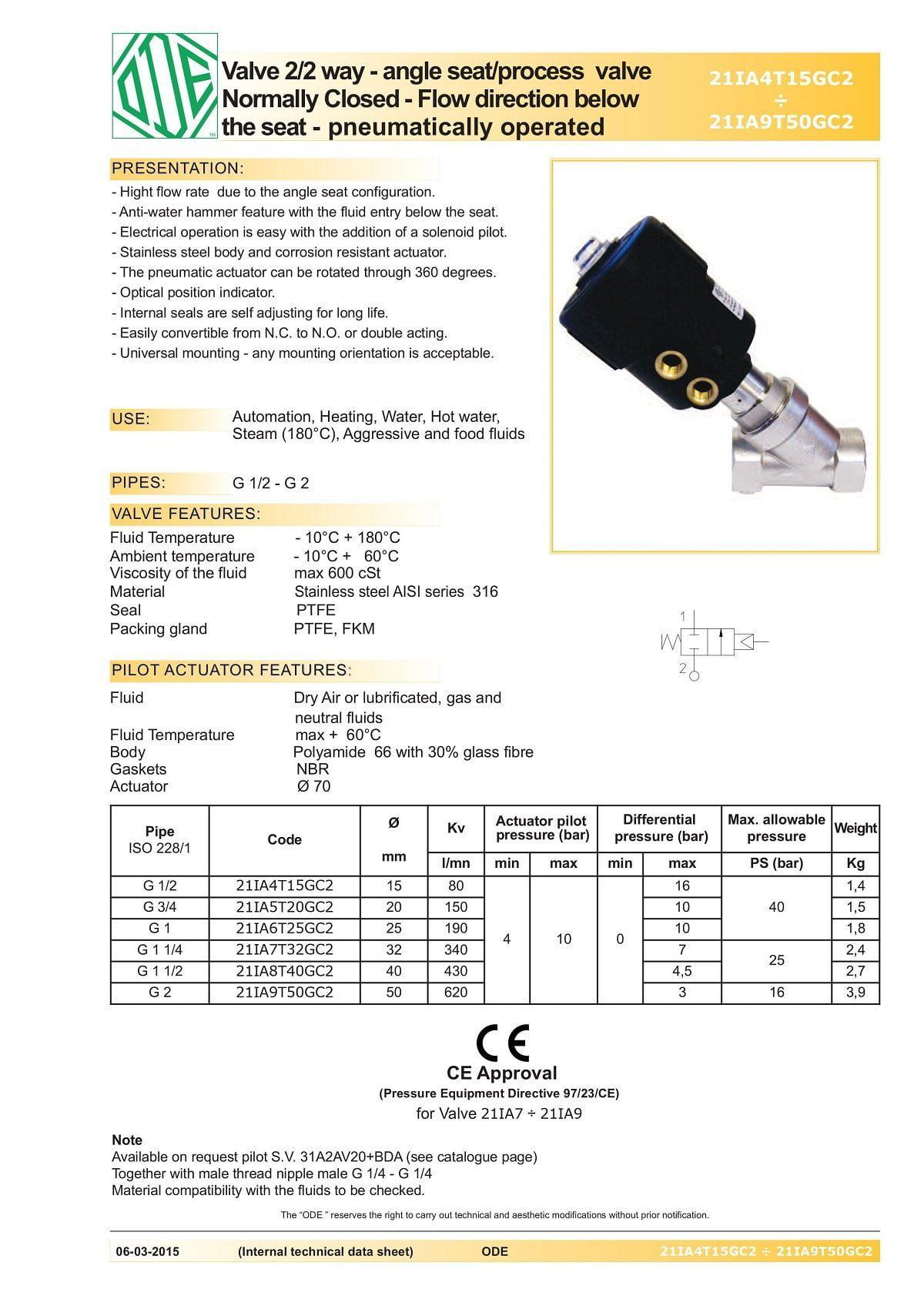 Cataloge của Van Y xiên khí nén inox 316 ODE