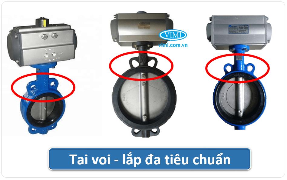Van bướm điều khiển khí nén Wafer lắp tiêu chuẩn mặt bích BS, JIS, DIN, ANSI