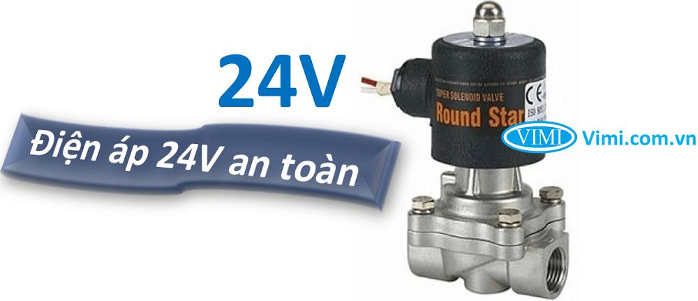 Van điện từ inox round star 24V 2