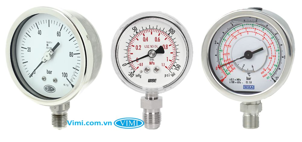 đồng hồ áp suất chân inox đứng