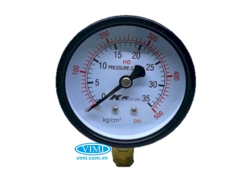 Đồng hồ áp suất KK vỏ nhôm chân đồng 6