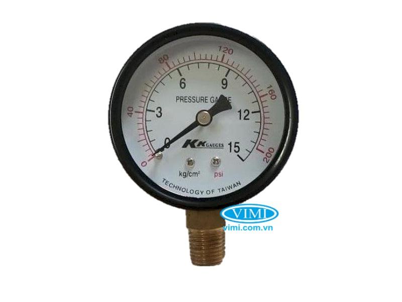 Đồng hồ áp suất KK vỏ nhôm chân đồng 5