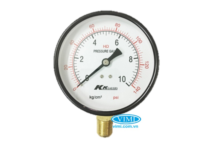 Đồng hồ áp suất KK vỏ nhôm chân đồng 4