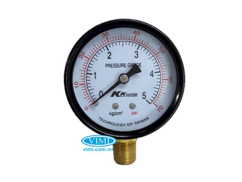 Đồng hồ áp suất KK vỏ nhôm chân đồng 7