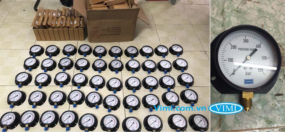 Đồng hồ áp suất Yamaki vỏ nhôm chân đồng 5
