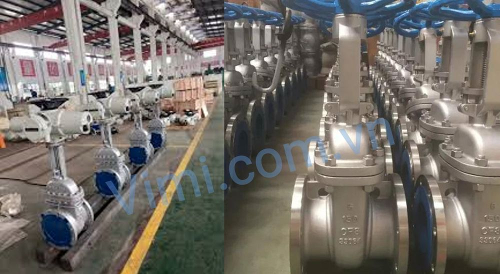 Kho số lượng lớn sản phẩm van cổng inox điều khiển điện 220V tuyến tính