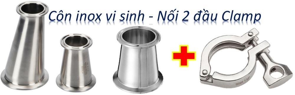 Côn thu inox vi sinh - Kiểu kết nối 2 đầu Clamp
