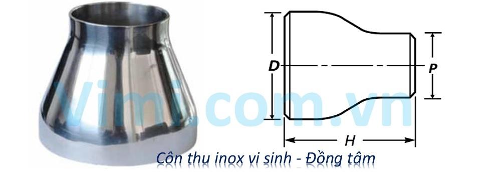 Côn thu inox vi sinh - Đồng tâm